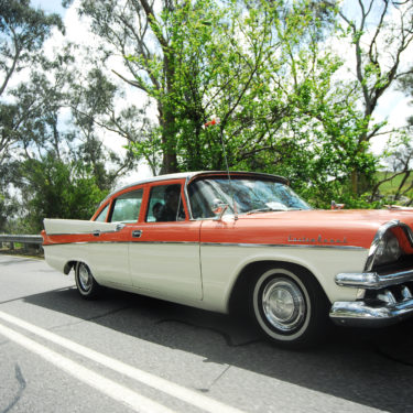 A classic vehicle on the road to Birdwood